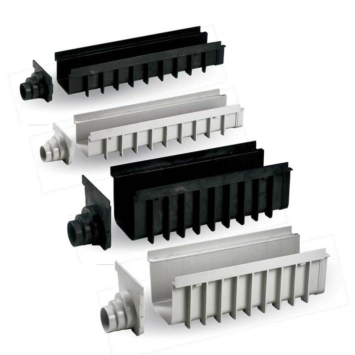 "Polypropylene modular channel ""MAXIMA"" type with end cap exit and closure"