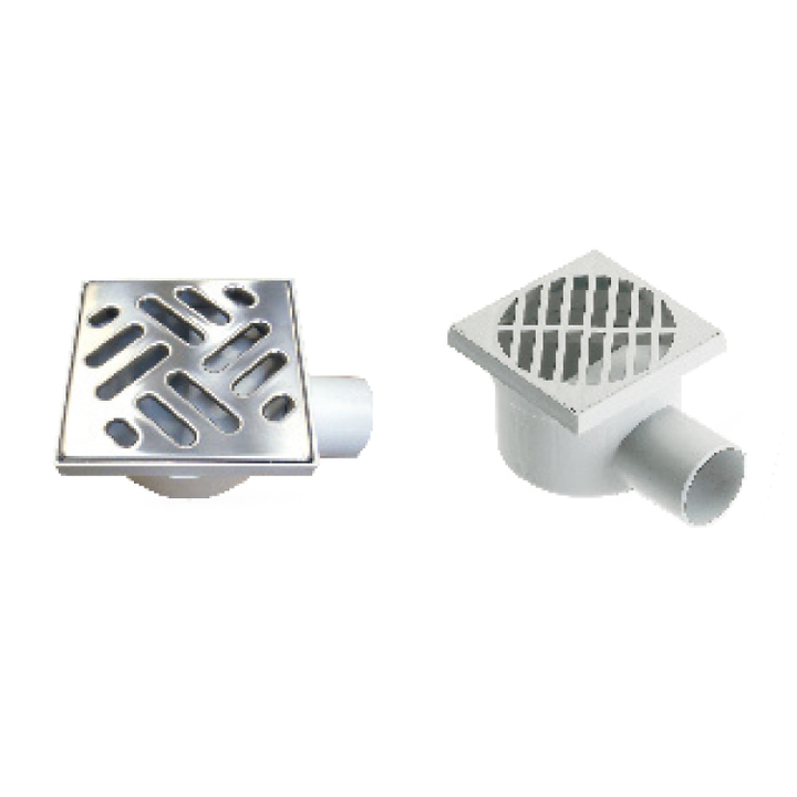 Polypropylene floor drain with side exit